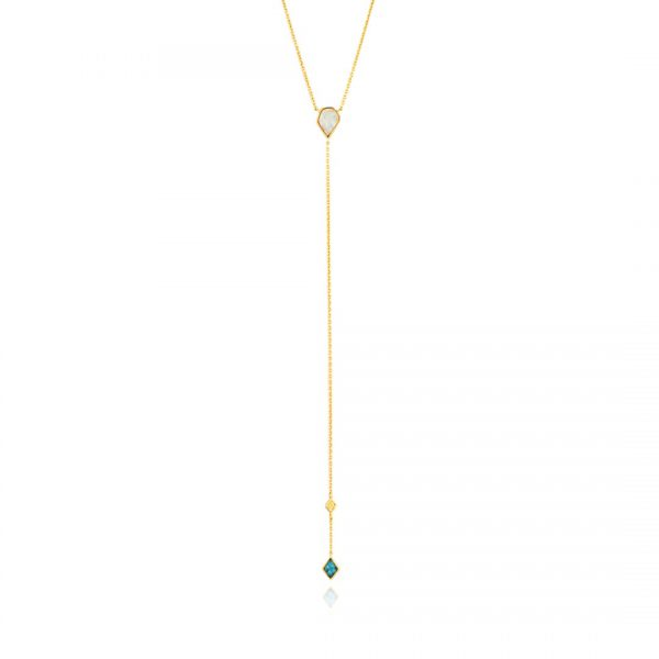 Turquoise n Opal Colour Y Necklace