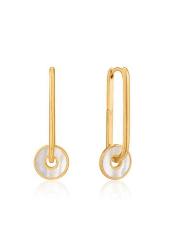 Mother of Pearl Disc Hoop Earrings