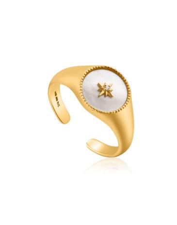 Mother of Pearl Embleem Signet Adjustable Ring