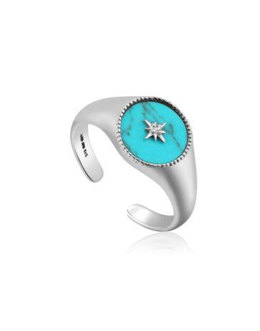 Turquoise Emblem Signet Adjustable Ring