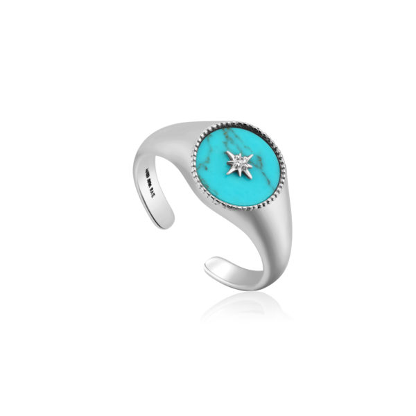 Turquoise Emblem Signet Adjustable Ring