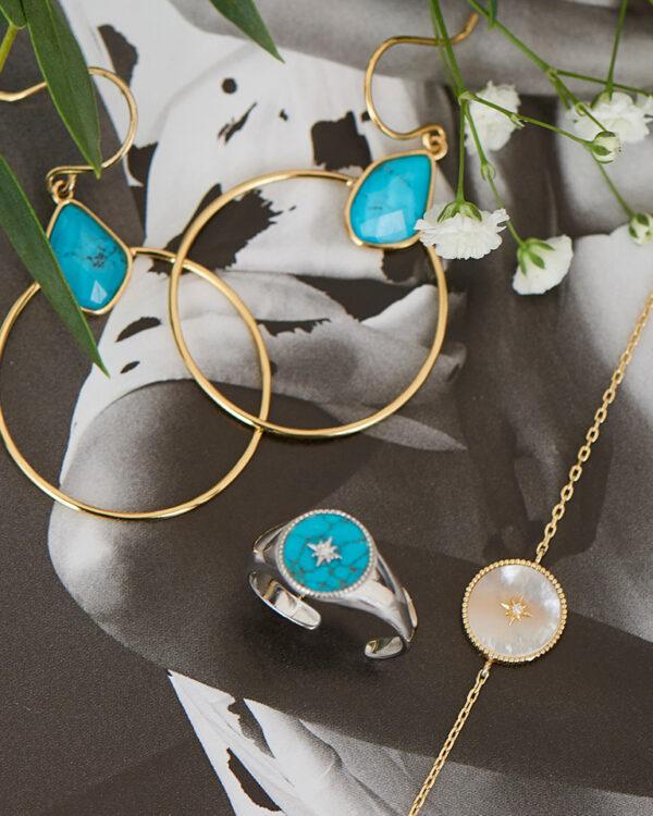 Hidden gem - Turquoise Emblem Signet Adjustable Ring | Mother of Pearl Emblem Bracelet | Mother of Pearl Emblem Bracelet