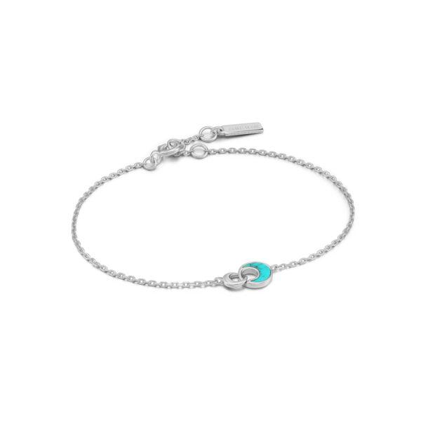 Tidal Turquoise Crescent Link Bracelet