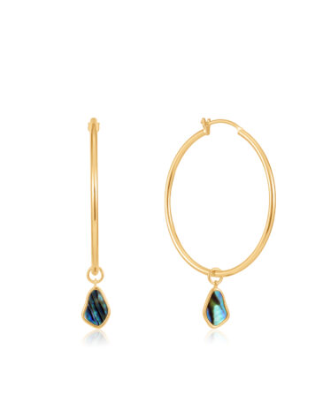 Tidal Abalone Drop Hoop Earrings