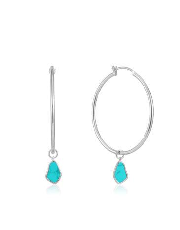 Tidal Turquoise Drop Hoop Earrings
