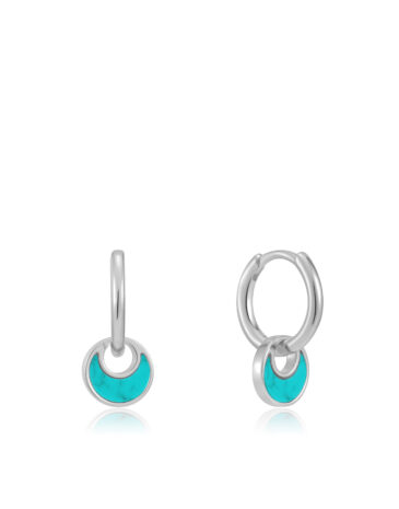 Tidal Turquoise Crescent Huggie Hoops