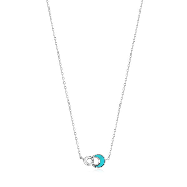 Tidal Turquoise Crescent Link Necklace