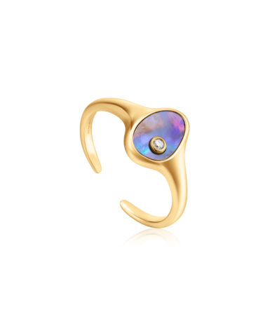 Tidal Abalone Adjustable Signet Ring