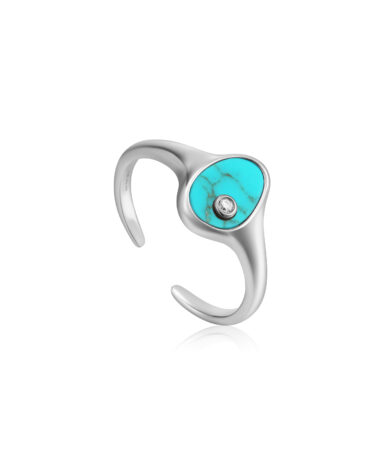 Tidal Turquoise Adjustable Signet Ring