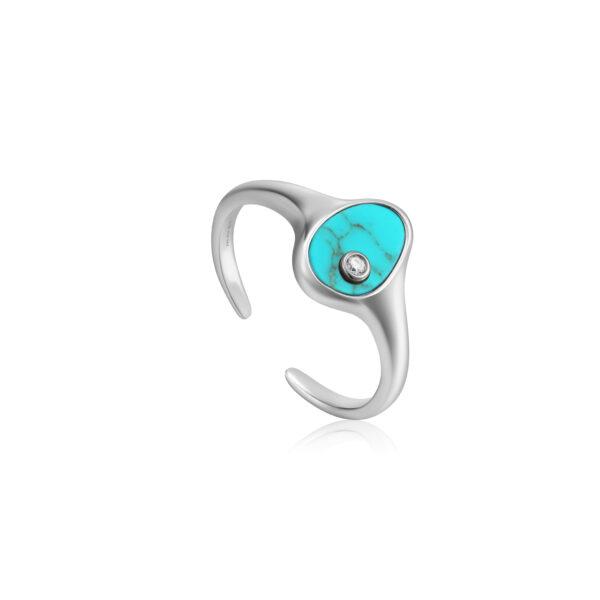Tidal Turquoise Adjustable Signet Ring
